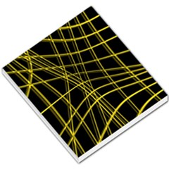 Yellow abstract warped lines Small Memo Pads