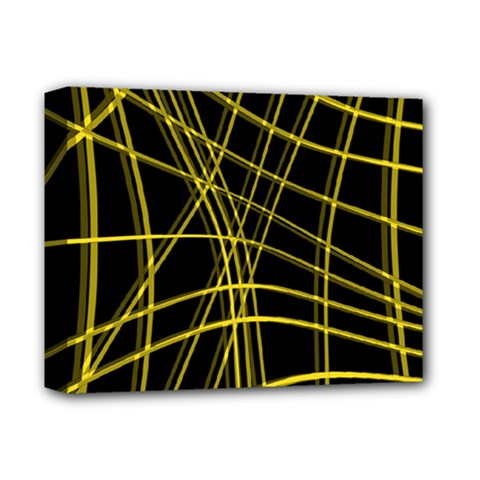 Yellow abstract warped lines Deluxe Canvas 14  x 11