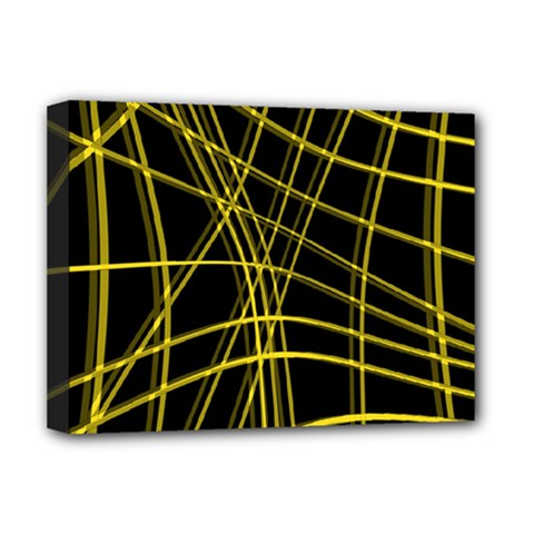 Yellow abstract warped lines Deluxe Canvas 16  x 12