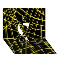 Yellow abstract warped lines Ribbon 3D Greeting Card (7x5)