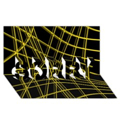 Yellow abstract warped lines SORRY 3D Greeting Card (8x4)