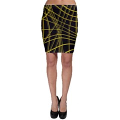 Yellow abstract warped lines Bodycon Skirt