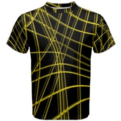 Yellow abstract warped lines Men s Cotton Tee