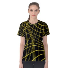Yellow abstract warped lines Women s Cotton Tee