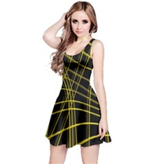 Yellow abstract warped lines Reversible Sleeveless Dress