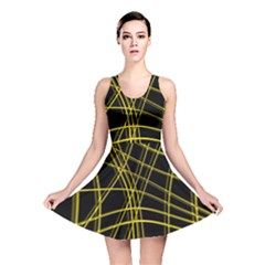 Yellow abstract warped lines Reversible Skater Dress