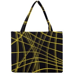 Yellow abstract warped lines Mini Tote Bag