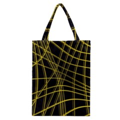 Yellow abstract warped lines Classic Tote Bag