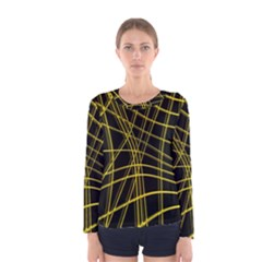 Yellow abstract warped lines Women s Long Sleeve Tee