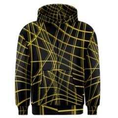Yellow abstract warped lines Men s Zipper Hoodie
