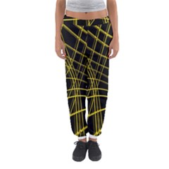 Yellow abstract warped lines Women s Jogger Sweatpants