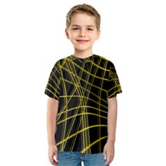 Yellow abstract warped lines Kids  Sport Mesh Tee