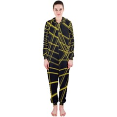 Yellow abstract warped lines Hooded Jumpsuit (Ladies)