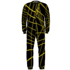 Yellow abstract warped lines OnePiece Jumpsuit (Men)