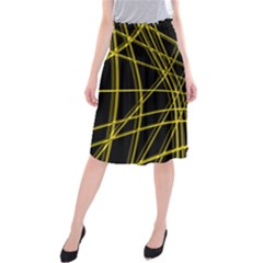 Yellow abstract warped lines Midi Beach Skirt