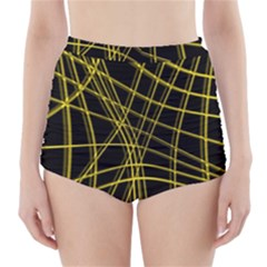 Yellow abstract warped lines High-Waisted Bikini Bottoms