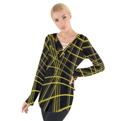 Yellow Abstract Warped Lines Women s Tie Up Tee