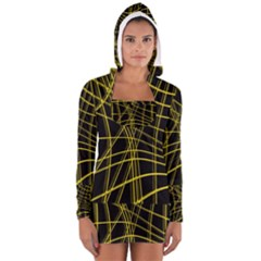 Yellow abstract warped lines Women s Long Sleeve Hooded T-shirt
