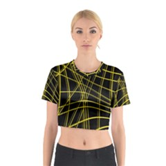 Yellow abstract warped lines Cotton Crop Top