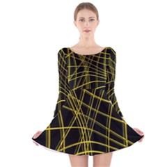 Yellow abstract warped lines Long Sleeve Velvet Skater Dress