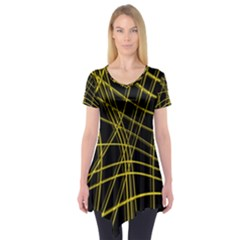 Yellow Abstract Warped Lines Short Sleeve Tunic