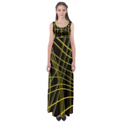 Yellow abstract warped lines Empire Waist Maxi Dress