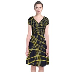 Yellow abstract warped lines Short Sleeve Front Wrap Dress
