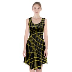 Yellow abstract warped lines Racerback Midi Dress