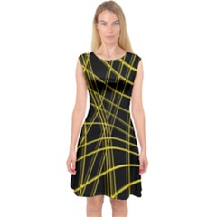 Yellow Abstract Warped Lines Capsleeve Midi Dress