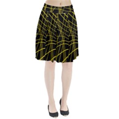 Yellow abstract warped lines Pleated Skirt