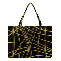Yellow Abstract Warped Lines Medium Tote Bag