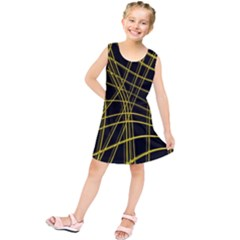 Yellow abstract warped lines Kids  Tunic Dress