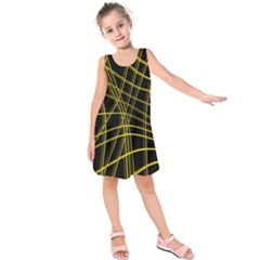 Yellow abstract warped lines Kids  Sleeveless Dress