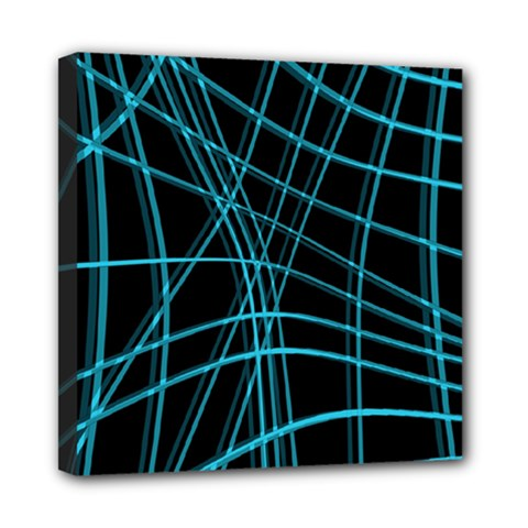 Cyan and black warped lines Mini Canvas 8  x 8