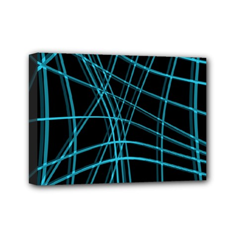 Cyan and black warped lines Mini Canvas 7  x 5
