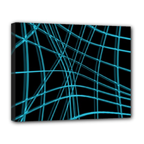 Cyan and black warped lines Canvas 14  x 11