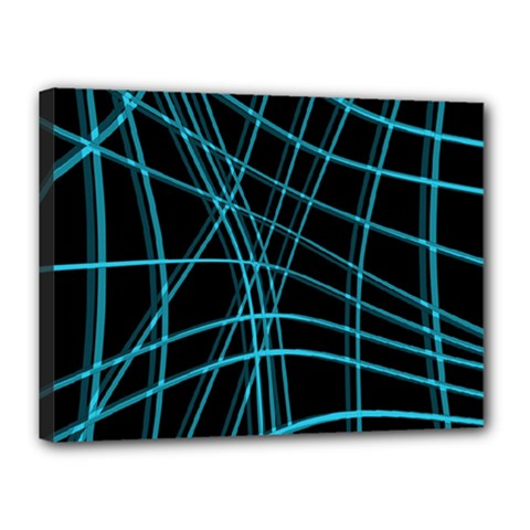 Cyan and black warped lines Canvas 16  x 12