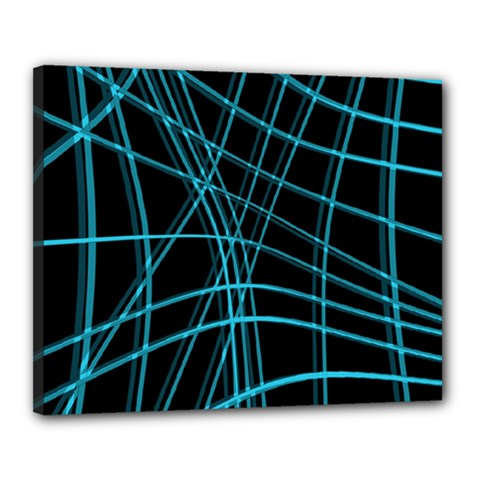 Cyan and black warped lines Canvas 20  x 16
