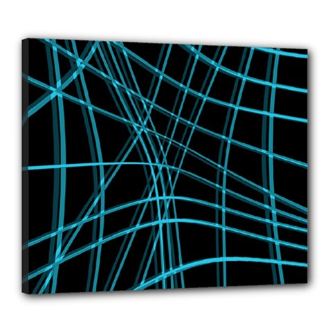 Cyan and black warped lines Canvas 24  x 20