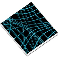 Cyan and black warped lines Small Memo Pads