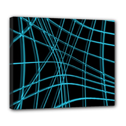 Cyan and black warped lines Deluxe Canvas 24  x 20