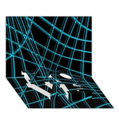 Cyan and black warped lines LOVE Bottom 3D Greeting Card (7x5)