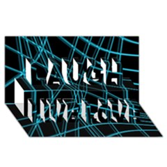 Cyan and black warped lines Laugh Live Love 3D Greeting Card (8x4)