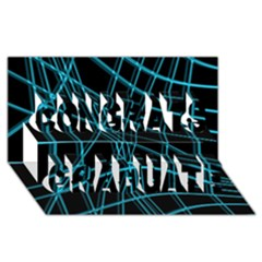 Cyan and black warped lines Congrats Graduate 3D Greeting Card (8x4)
