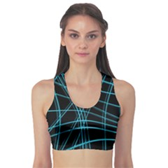 Cyan and black warped lines Sports Bra