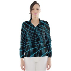 Cyan and black warped lines Wind Breaker (Women)