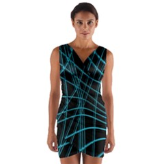 Cyan And Black Warped Lines Wrap Front Bodycon Dress