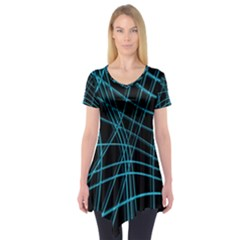 Cyan and black warped lines Short Sleeve Tunic