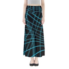 Cyan and black warped lines Maxi Skirts