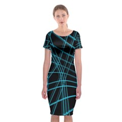 Cyan and black warped lines Classic Short Sleeve Midi Dress